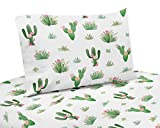 Pink and Green Boho Watercolor Twin Sheet Set for Cactus Floral Collection - 3...