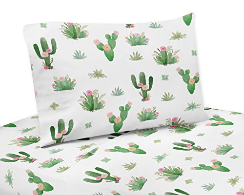 Pink and Green Boho Watercolor Queen Sheet Set for Cactus Floral Collection - 4 Piece Set