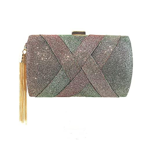 Bohend Mode - Bolso de mano con purpurina brillante para mujer, Verde (verde), 17.5*12*7.5cm