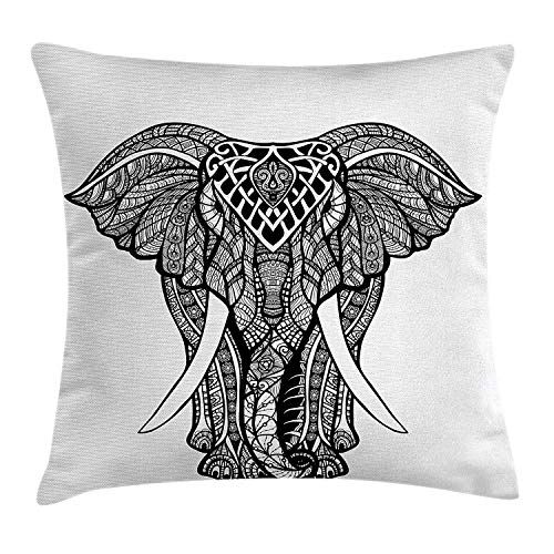 Butlerame Elefante Mandala Throw Pillow Cover, Tribal Mehndi Ethnic Native American Totem Mandala Spirit Animal, 18 x 18 Pulgadas, Blanco y Negro