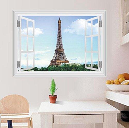 Lozse 3D Eiffel Turm Schlafzimmer Hintergrund Dekoration Wandsticker Poster