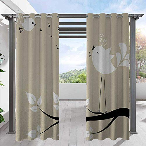 Outdoor Patio Curtains Two Birds on a Branch Singing Love Songs Friend Valentine Couple Hope Living Public Divider Outdoor Drape Tastefully Designed for An Outdoor Space Cream White W120 x L108 Inch