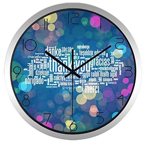 Horloge Murale Merci Horloge Murale Thanksgiving Day Cadeau Grande Boutique en Verre Horloge 12 Pouces B214S
