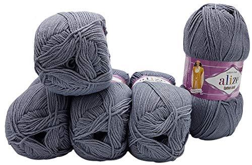 Alize Cotton gold 5 x 100g Strickwolle 55% Baumwolle, 500 Gramm Wolle einfarbig (grau 87)