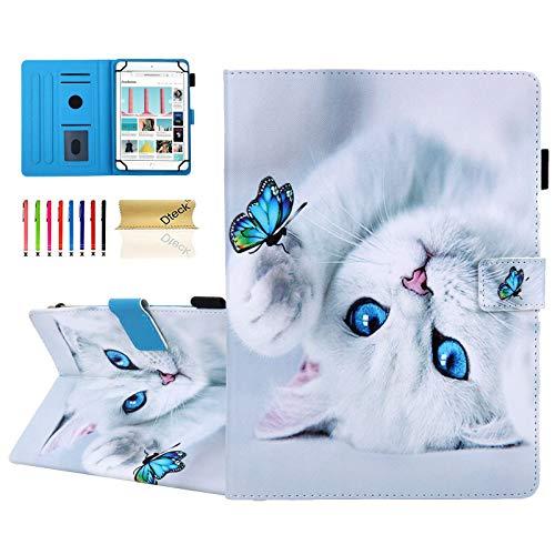 Dteck Universal Schutzhulle dunn leicht Leder Brieftaschenformat fur HD 10 Samsung Galaxy TabLenovo TabOnnAndroid Tablet 96 97 10 101 102 103 104 105 Zoll Katze Schmetterling