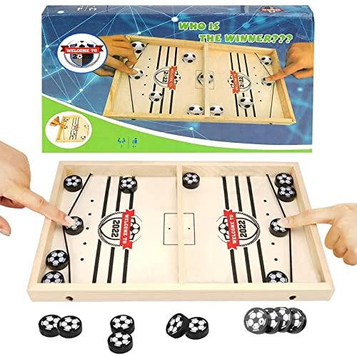 colmanda Brettspiel Hockey, Fast Sling Puck Game, Katapult Brettspiel, Tisch Hockey Brettspiel Portable Board Games aus Holz Brettspiel, Hockey Game für Kinder & Familie