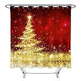 Fondo Rojo Dorado Brillo árbol de Navidad Cortina de Ducha de baño,poliéster Impermeable y de Secado rápido,patrón de Alta definición,12ganchos,180X180cm,decoración del hogar