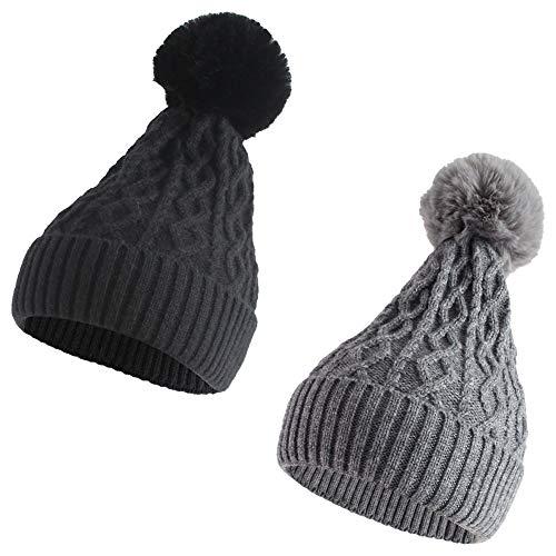 NTLWKR Black Gray 2 Pieces Winter Autumn Spring Knit Hats for Women Teen Girls Slouchy Beanies Fuax Fur Pompom Skullcap