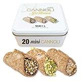 Mini Cannoli Siciliani, Relleno De Pistacho, Gianduia Y Crema De Avellana | 20 Mini Cannoli en sobres individuales | envases de hojalata elegantes | Dulces sicilianos | Pastelería siciliana