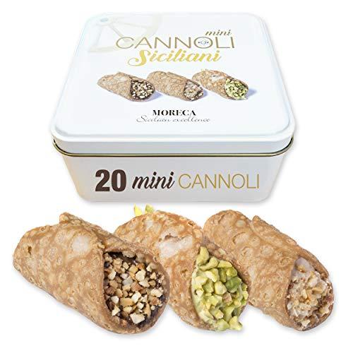 Sizilianische Mini-Cannoli, gefüllt mit Pistaziencreme, Gianduia und Haselnuss | 20 Mini-Cannoli in Portionsbeuteln | Elegante Blechverpackung | Italienische Spezialitäten | Sizilianisches Gebäck
