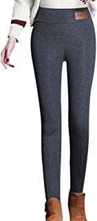 Heyean Winter Women Warm Tights Thickened Fleece Lined Casual Lady Pants Trousers