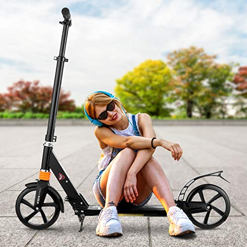 CAROMA Scooter for Adults and Kids, Folding Kick Scooter with Adjustable Handlebar Dual Suspension and Kickstand, Big Wheel Scooter Support 220lbs, Commuter Scooters for Teens 12 Years and Up