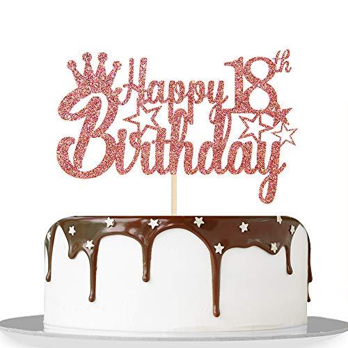Tortenaufsatz zum 18. Geburtstag in Roségold, glitzernd, für 18 Jahre, für Mädchen, Jungen, 18. Jahrestag, Geburtstag, Party-Dekoration, Zubehör – hochwertige Farbe
