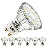 EACLL Bombillas LED GU10 4000K Blanco Neutro 5W Fuente de Luz 495 Lúmenes Equivalente 50W Halógena Lámpara. AC 230V Sin Parpadeo Focos, 120 ° Blanca Neutra natural Reflectoras Spotlight, 6 Pack
