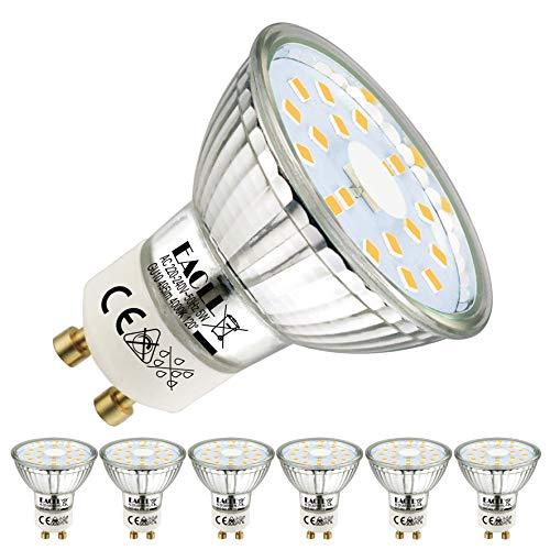 EACLL Ampoules LED GU10 Blanc Neutre Source de lumière 5W 4000K 495 Lumens, Équivalent incandescence halogène 50W. 120 ° Large Faisceau, AC 230V Spots à Réflecteur Sans Scintillement, Pack de 6