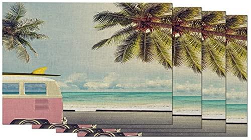 aipipl Juego de 4 manteles Individuales para Coche en la Playa, Tabla de Surf Sea Sunshine, Palmera Tropical, Luna de Miel, manteles Individuales de Viaje para Mesa de Comedor, Lino de algodón de 1
