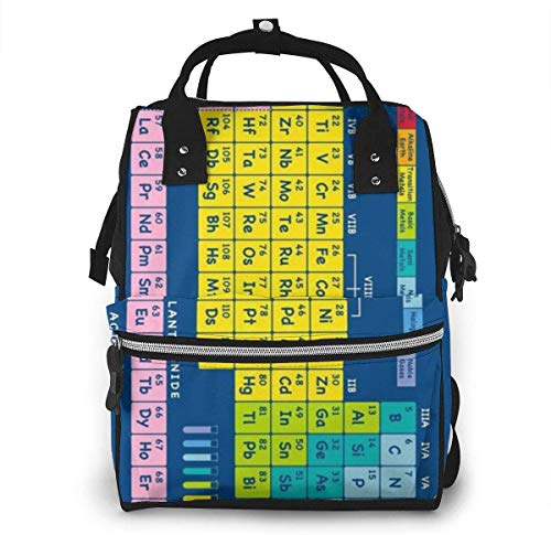 Fun Time Table of Elements Multi Colored Diaper Backpack Large Capacity Baby Bags Multi-Function Zipper Casual Travel Backpacks for Mom Dad Unisex