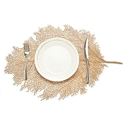 DAYOLY 2 manteles individuales, simulación de rama de coral para mesa de comedor – Antideslizante aislamiento mantel individual lavable para decoración de mesa de comedor, cocina, color dorado