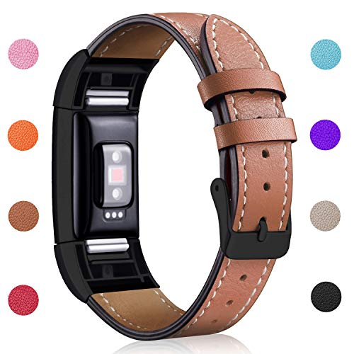 Hotodeal Replacement Leather Band Compatible for Charge 2, Classic Genuine Leather Wristband Metal Connector Watch Bands, Fitness Strap Women Men Small Large (Brown- Black Buckle)