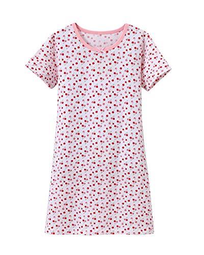 DianShaoA Prinzessin Netter Druck Nachthemden Für Mädchen Kurzarm Kinder Schlafanzüge Für 3-12 Jahre 86904Pink Weiß 140