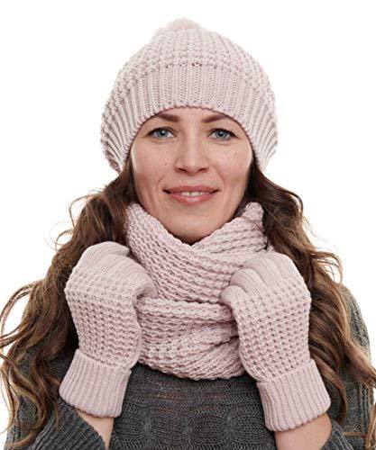 Hilltop Winterset 3-Teilig bestehend aus Loop-Schal, Strickmütze und Handschuhen, Damenschal als Winter-Schal, Strickschal mit passender Damen Mütze (Light Pink)