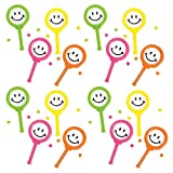 Kicko Smile Face Drum Noise Maker - Pack of 16-4 Inches Assorted Colors Noisemaker for Mexican Fiesta, or Classroom Musical Instruments - for Kids Party Favors, Fun, Toy, Prize