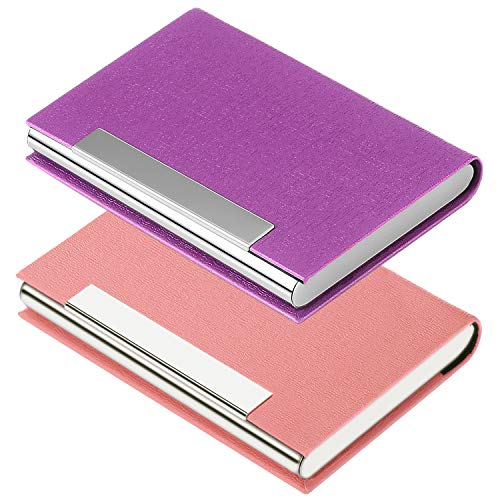Business Card Holder Business Card Case - JuneLsy 2 Pack Luxury PU Leather and Stainless Steel Metal Card Holder for Men and Women with Magnetic Shut Keep Business Cards Clean (Purple/Pink)