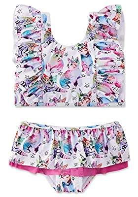 swimsobo Toddler Kids Bathing Suits for Girls 2-Piece Swimsuit Cat Printed Bikini Sets Adorable Flutter Sleeve Top Ruffle Bottom Swimwear for Water Park Swimming Lesson Summer Beach Size 5 6 Pink