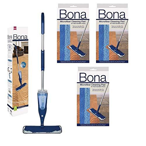 Bona Hardwood Spray Mop with 3 Bona Microfiber Pads