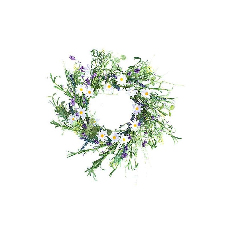 "silk flower arrangements yfzymm lavender blossom silk spring and summer door wreath,16"" blue white flower wreath spring/summer wreath, suitable for front door indoor wall window decor and festival celebration"