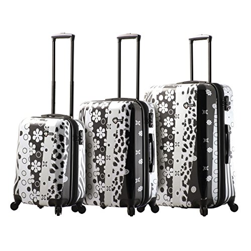 Check Out This Mia Toro Pop Fiore Hardside Spinner Luggage 3PC Set, Black, 28 Inches