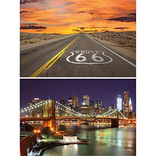 GREAT ART 2er Set XXL Poster – USA Motive Route 66 & Brooklyn Bridge bei Nacht – Nord-Amerika Bilder Wandbild Dekoration Wandposter Fotoposter Wanddeko (140 x 100cm)