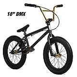 "Elite 20' & 18"" BMX Bicycle Destro Model Freestyle Bike - 4 Piece Cr-MO Handlebar (20' Black Gold)"