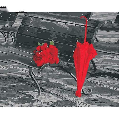 Rode Roos Bloem Paraplu Beeld Kleurplaten door Getallen Romantische Kalligrafie Schilderen door Getallen voor Moderne Wandkunst Beeld framed 40x50cm