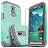 Galaxy S5 Active Case, Starshop [Shock Absorption] Hybrid Dual Layers Rugged Impact Advanced Armor Phone Cover With [Premium HD Screen Protector Included] For Samsung Galaxy S5 Active(Light Blue Lace)