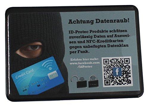 ID Protec Custodia protettiva per carta di credito, colore: nero Per una carta di credito 63x89mm nero