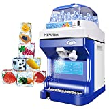 NEWTRY Commercial Ice Shaver High Capacity Snow Cone Maker Thickness Adjustable Ice Shaving Machine Automatic Shaved Ice Crusher (220V)