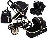 3 in 1 Baby Stroller Bassinet Pram Carriage Stroller?- Oversized Canopy Stroller Compact Single Baby Carriage Toddler Seat Stroller Luxury Pram Stroller ?Holder Footmuff, Backpack ( Color : Default )