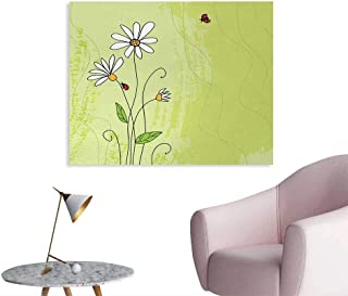Tudouhoho Daisy Funny Poster Hand Drawn Style Chamomile Flowers on Green Backdrop with Ladybugs and Grunge Look Wallpaper Multicolor W48 xL32