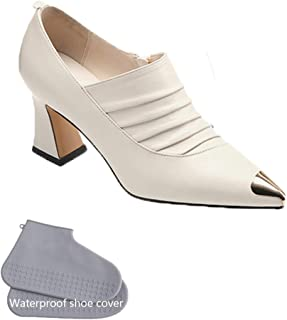New Ladies High-Heeled Shoes with Pointed Toe, European and American Fashion Temperament, Simple Thick and Retro Ladies Shoes,White,40