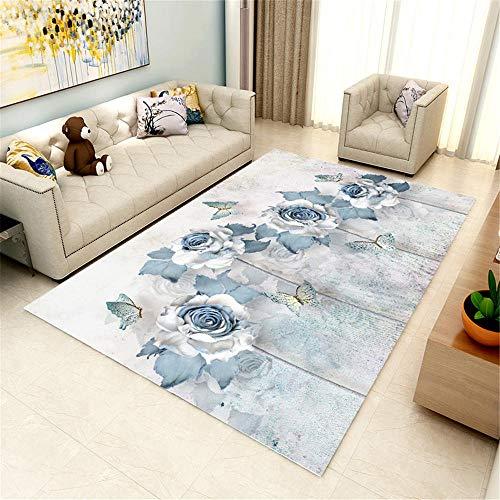 alfombras antideslizantes cojin suelo grande Alfombra de la sala de estar Alfombra azul floral Patrón floral respetuoso con el medio ambiente Anti-deslizamiento sucio alfombras salón 140X200CM 4ft 7.1