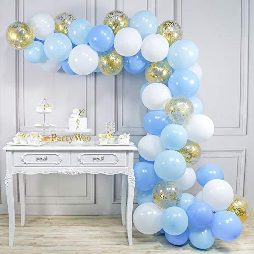 PuTwo Globos Azules y Blancos 70 pzas 12 Pulgadas Globos Azules Bebé...