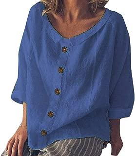 Shirts Blouse for Women Elegant Hosamtel Loose Button Short Sleeve Summer Work Casual Cotton Linen Tops T-Shirt for Womens