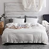 Argstar 3 Pcs 100% Microfiber Solid Color Duvet Cover Queen with Buttons, Washed Cotton Effect, White