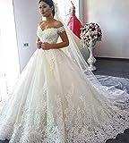 JYL Wedding Dress Bride Gown Bridesmaid Dress Double V-Neck Double Crochet Lace Top Lace Applique Vintage Elegant Floor Length Ivory/US:10 (XXL)
