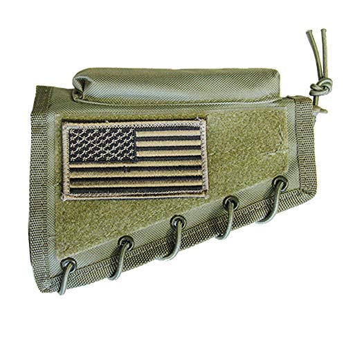 M1SURPLUS Green Color Cheek Rest Stock Pad + USA Flag Patch Fits Springfield M1 M1A Norinco