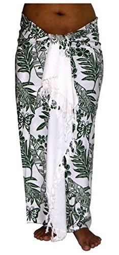 ca.100 Modelle im Shop Sarong Strandtuch Pareo Wickelrock Loop weiß grün Sar04