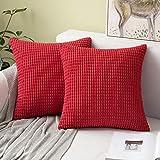 MIULEE 2er Set Cord Weiches Massiv Dekorativen Quadratisch Überwurf Kissenbezüge Kissen für Sofa Schlafzimmer 16'x16', 40 x 40 cm Rot