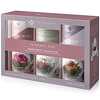 Teabloom Flowering Tea Assortment Collection Gift Box - 36 Gourmet Blooming Teas in 3 Beautiful Canisters - Includes 12 Heart-Shaped Tea Flowers 12 Fruit Tea Flowers and 12 Jasmine Green Tea Flowers