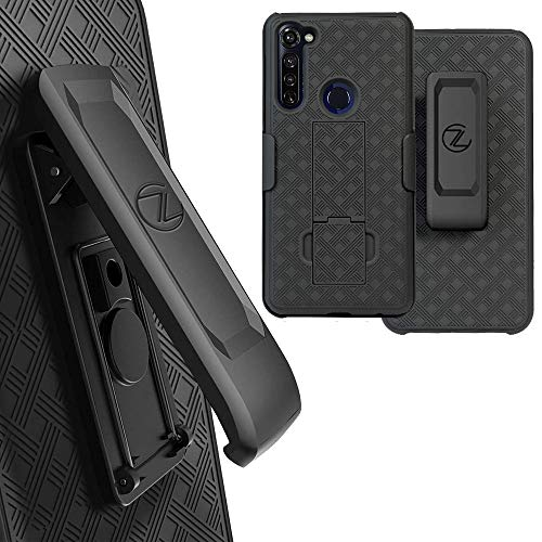 Zase Motorola Moto G Stylus (2020) for Verizon Holster Belt Clip Case Tough Rugged Armor Super Slim Protective Cover Defender Strong Belt Clip [Kickstand] Moto XT2043 (A Black Holster Combo Case)